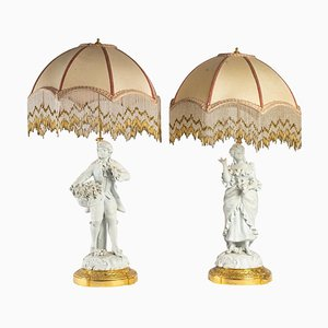Biscuit Lamps, Late 19th Century, Set of 2
