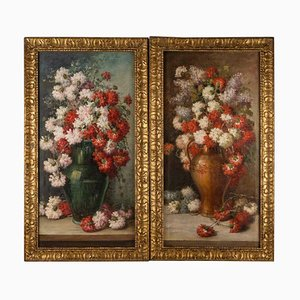 Pendant Flower Paintings, Oil on Canvas, Late 19th Century, Set of 2