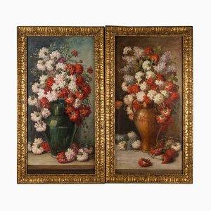 Pinturas colgantes de flores, óleo sobre lienzo, finales del siglo XIX. Juego de 2