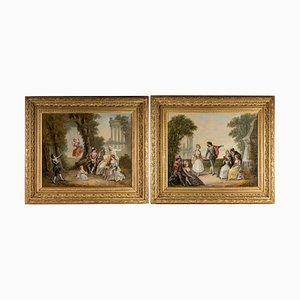 Oil on Canvas Paintings by Pigale, Late 19th Century, Set of 2