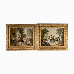 Pinturas al óleo sobre lienzo de Pigale, finales del siglo XIX. Juego de 2