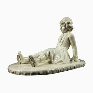 Vintage White Porcelain with Child, Italy, Second Half of 20th Century