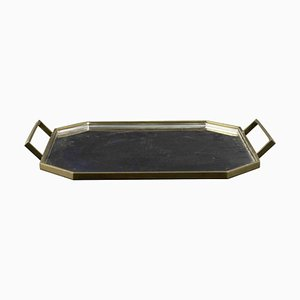 Brass and Inox Argent Geometrical Serving Tray, Gottinghen, 1970s