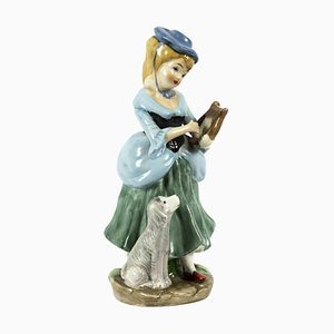 Vintage Porcelain Sculpture of Lady, Mid-20th Century