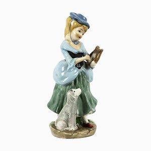 Vintage Porzellanskulptur einer Dame, Mitte 20. Jh