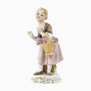 Vintage Porcelain Sculpture of Girl with Basket, Mid-20th Century