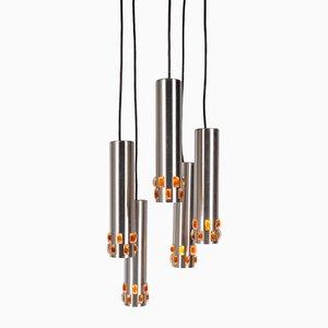 Lampe à Suspension avec Cinq Tuyaux en Aluminium, 1960s