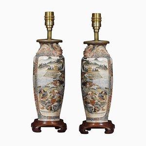 Satsuma Baluster-Shaped Vase Lamps, Set of 2
