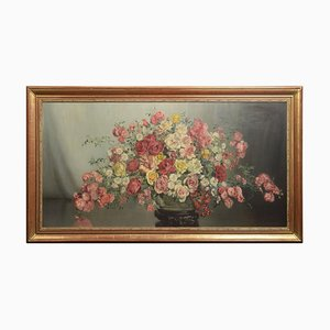Still Life of Flowers, Oil on Canvas