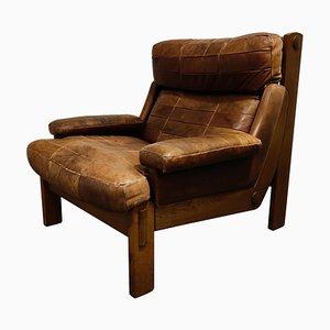 Vintage Leather Patchwork Armchair, 1960s