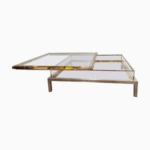 Mesa de centro vintage con tablero deslizante de Maison Jansen, años 70