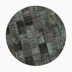 Black Round Patchwork Rug