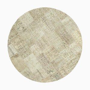 Beiger runder Patchwork Teppich