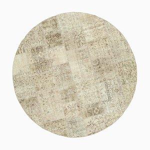Beige Round Patchwork Rug