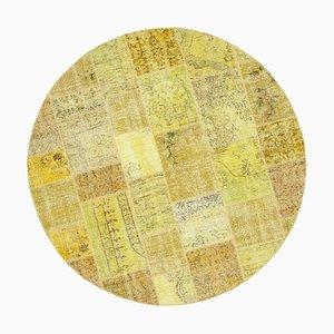 Tappeto rotondo patchwork giallo