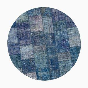 Blauer runder Patchwork Teppich
