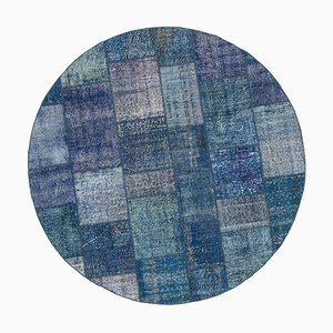 Tappeto rotondo patchwork blu