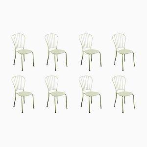 Österreichische Mid-Century Stapelbare Gartenstühle aus Weißem Metall, 8er Set