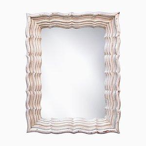 Espejo Regency neoclásico rectangular de madera tallada a mano, 1970