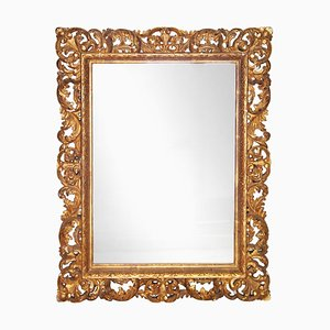 Neoclassical Baroque Gold Foil Hand Carved Wooden Mirror, 1970