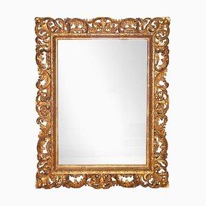 Specchio neoclassico barocco in legno intagliato a mano, anni '70