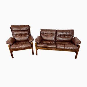 Sofá y silla escandinavos Mid-Century vintage de cuero de búfalo, años 70. Juego de 2