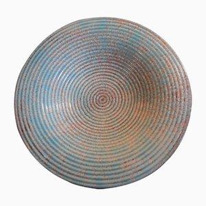 Runde Art Deco Schale auf 3 Füßen aus türkis-braun glasierter Keramik mit Sprühdekor von Rosenthal