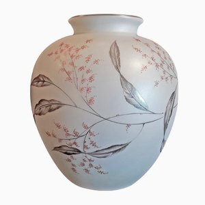 Vintage Curved Porcelain Vase with Japonising Colored Painting by Fritz von Stockmayer for Rosenthal, 1940s