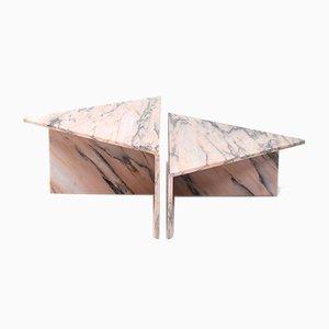 Italienischer Dreieckiger Marmor Couchtisch von Up & Up, 2er Set