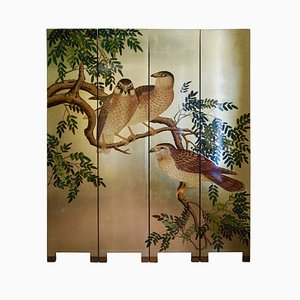 Chinoiserie Gold Leaf Birds Screen, France, 1970s