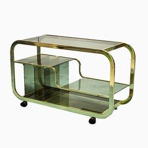 Carrito de bar de metal dorado y vidrio ahumado, años 70