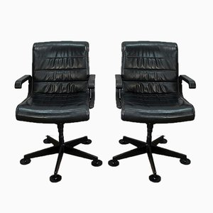 Leather Office Chairs by Richard Sapper for Knoll Inc. / Knoll International, 1979, Set of 2
