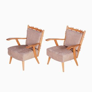 Mid-Century Modern Ash Armchairs from Úluv Workshop, 1950s, Set of 2