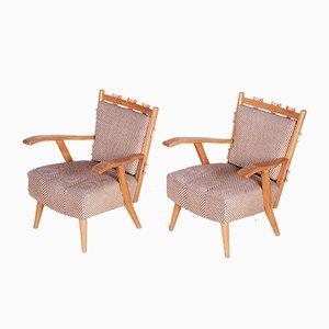 Moderne Mid-Century Armlehnstühle aus Eschenholz von Úluv Workshop, 1950er, 2er Set