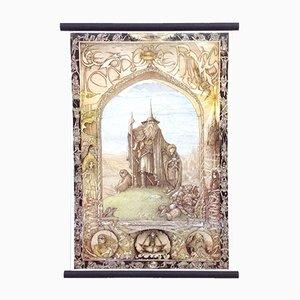 Tolkien School Poster on Linen with Wooden Sticks