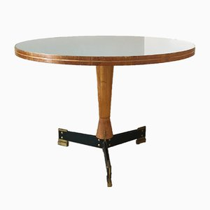 Dining Table in Black Lacquered Metal, Glass and Brass by Ignazio Gardella, Italy, 1950s