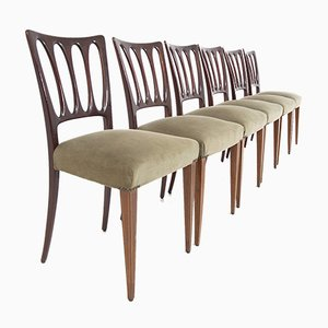 Mid-Century Velvet Chairs in Walnut in the Style of Paolo Buffa, Set of 8
