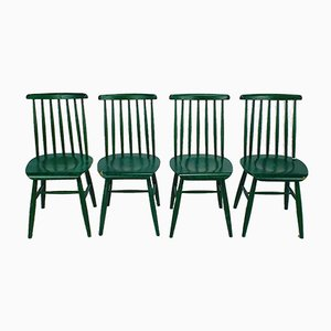 Scandinavian Spindle Chairs in Green, 1960s, Set of 4