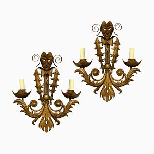 Venezianische Wandlampen aus vergoldetem Metall, 2er Set