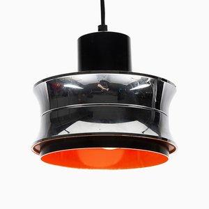 Scandinavian Orange Pendant Lamp in Chrome