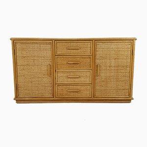 Aparador estilo Hollywood Regency vintage de ratán y bambú, años 70