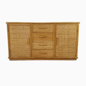 Vintage Hollywood Regency Style Rattan and Bamboo Sideboard, 1970s