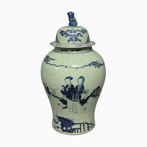 Große chinesische Vase in Blau & Weiß