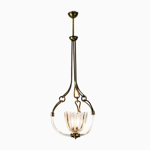 Brutalist Murano Glass Chandelier by Ercole Barovier for Barovier & Toso, 1930s