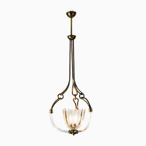 Lámpara de araña brutalista de cristal de Murano de Ercole Barovier para Barovier & Toso, años 30