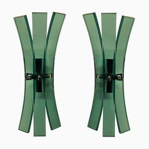 Lámparas de pared de vidrio verde pálido de Veca. Juego de 2