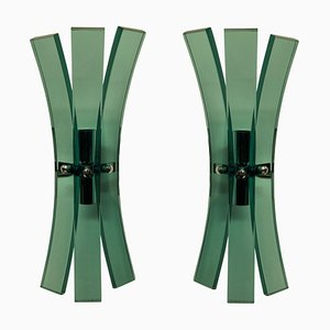 Pale Green Glass Wall Lights from Veca, Set of 2