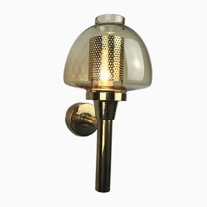 Mid-Century Swedish Wall Sconce in Brass and Amber Colored Glass by Hans-Agne Jakobsson for Hans-Agne Jakobsson Ab Markaryd, 1960s