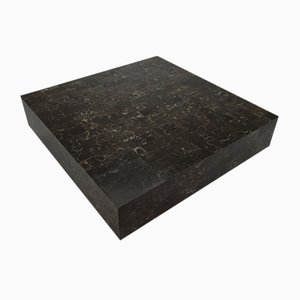 Mesa de centro vintage de mármol negro y epoxi, 1970