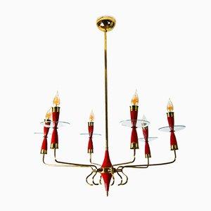 Lámpara de araña de cristal de Murano con seis luces a Pietro Chiesa para Fontana Arte, años 40